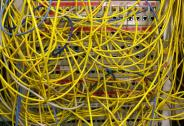 Ethernet cables used for internet connections are pictured in a Berlin office, August 20, 2014. The German cabinet discussed on Wednesday Germany's digital agenda for the future. REUTERS/Fabrizio Bensch (GERMANY - Tags: POLITICS) - BM2EA8K0V6O01