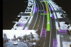 Video captured by a Google self-driving car, inset, is coupled with the same street scene as the data is visualized by the car during a presentation at a media preview of Google's prototype autonomous vehicles in Moutain View, California September 29, 2015. REUTERS/Elijah Nouvelage - GF10000227143