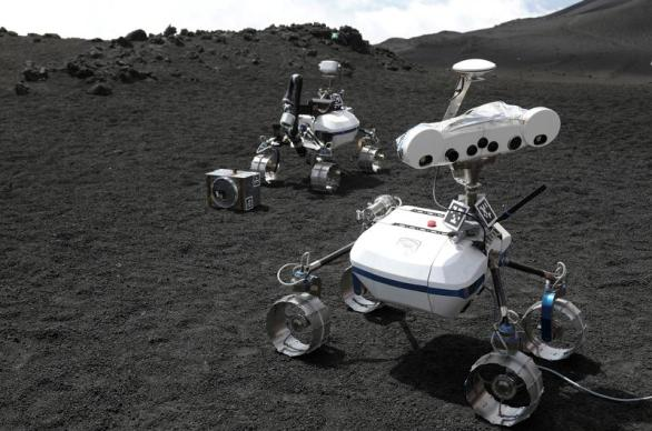 Robots are seen on the Mount Etna, Italy July 2, 2017. Picture taken July 2, 2017. REUTERS/Antonio Parrinello - RC1920EA1670